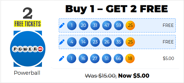 3 Powerball Tickets for $5